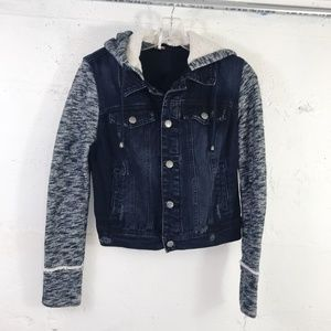 Free People Denim Mixed Fabric Hooded Jacket Sz XS